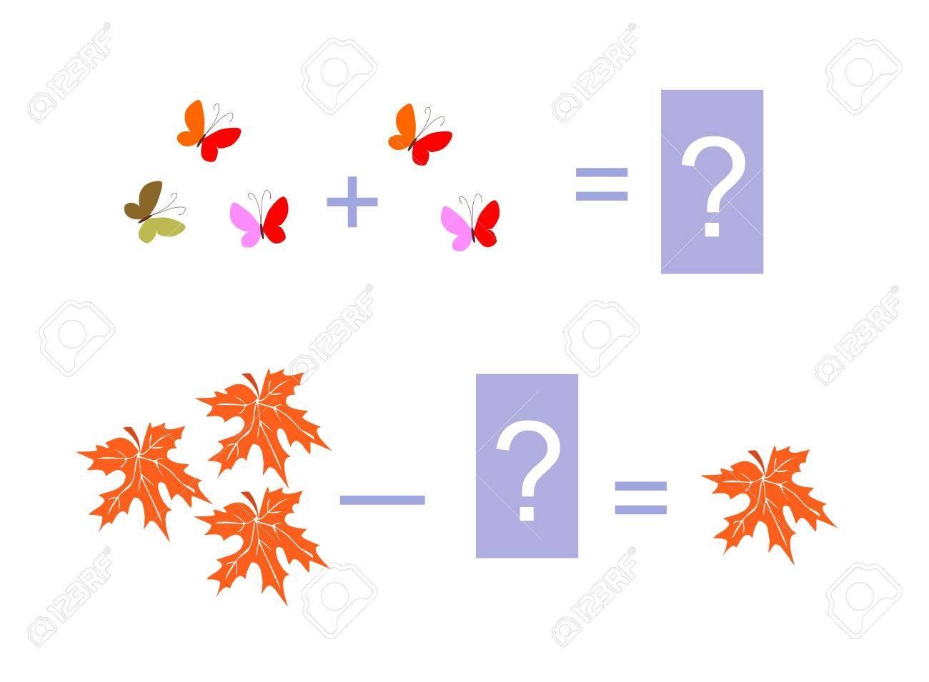 Ilustración De Dibujos Animados De La Suma Y La Resta Matemática ...