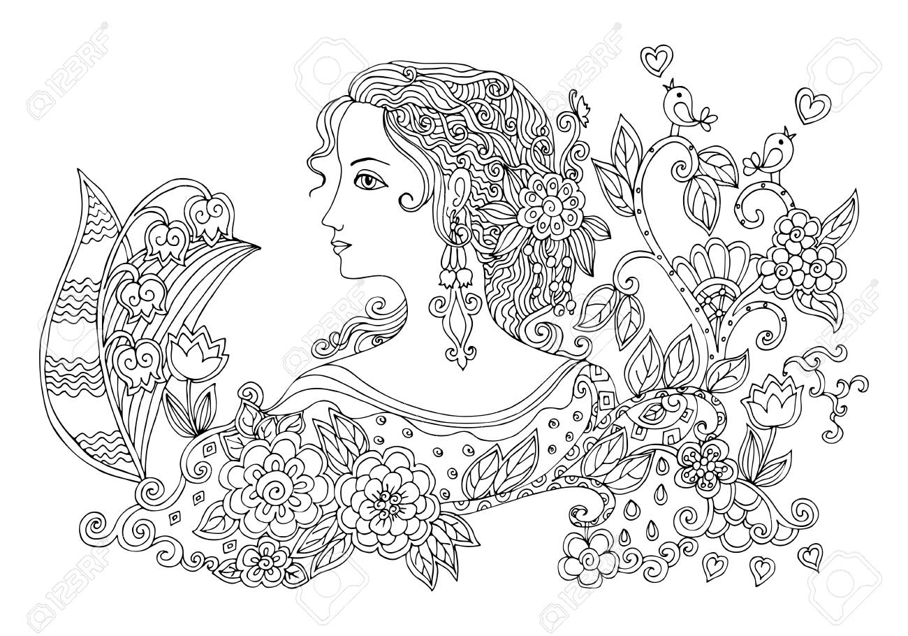 Hand drawn doodle portrait of beautiful woman with flowers. Black and white vector illustration. - 55604792