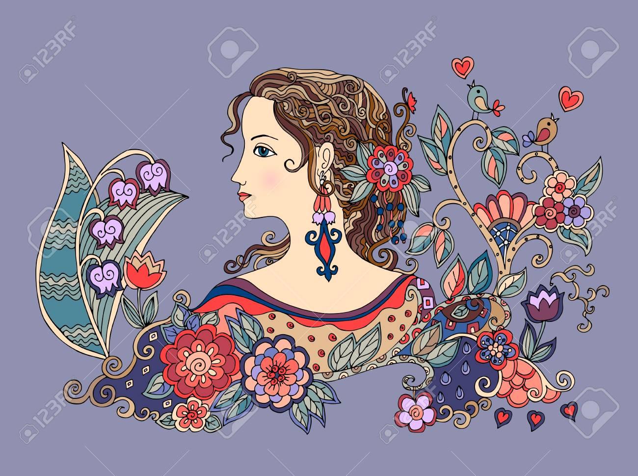 Portrait De Doodle Colore De Belle Fille De Profil Avec Des Fleurs