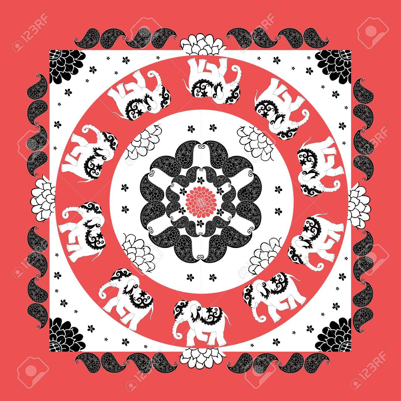 Mandala Original Indian Bandana Print With Ten Elephants And Paisley Silk Neck Scarf