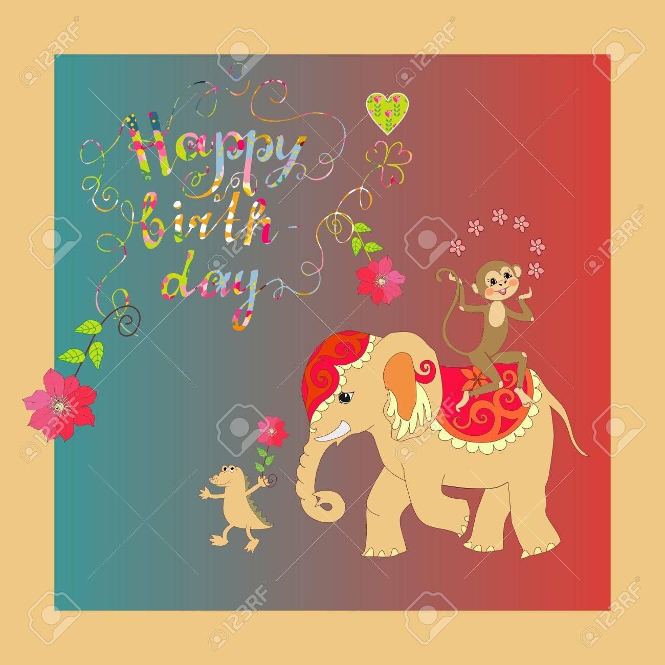 Carte Mignonne Joyeux Anniversaire Avec Elephants Joyeux Crocodile Et Singes Clip Art Libres De Droits Vecteurs Et Illustration Image 58632428