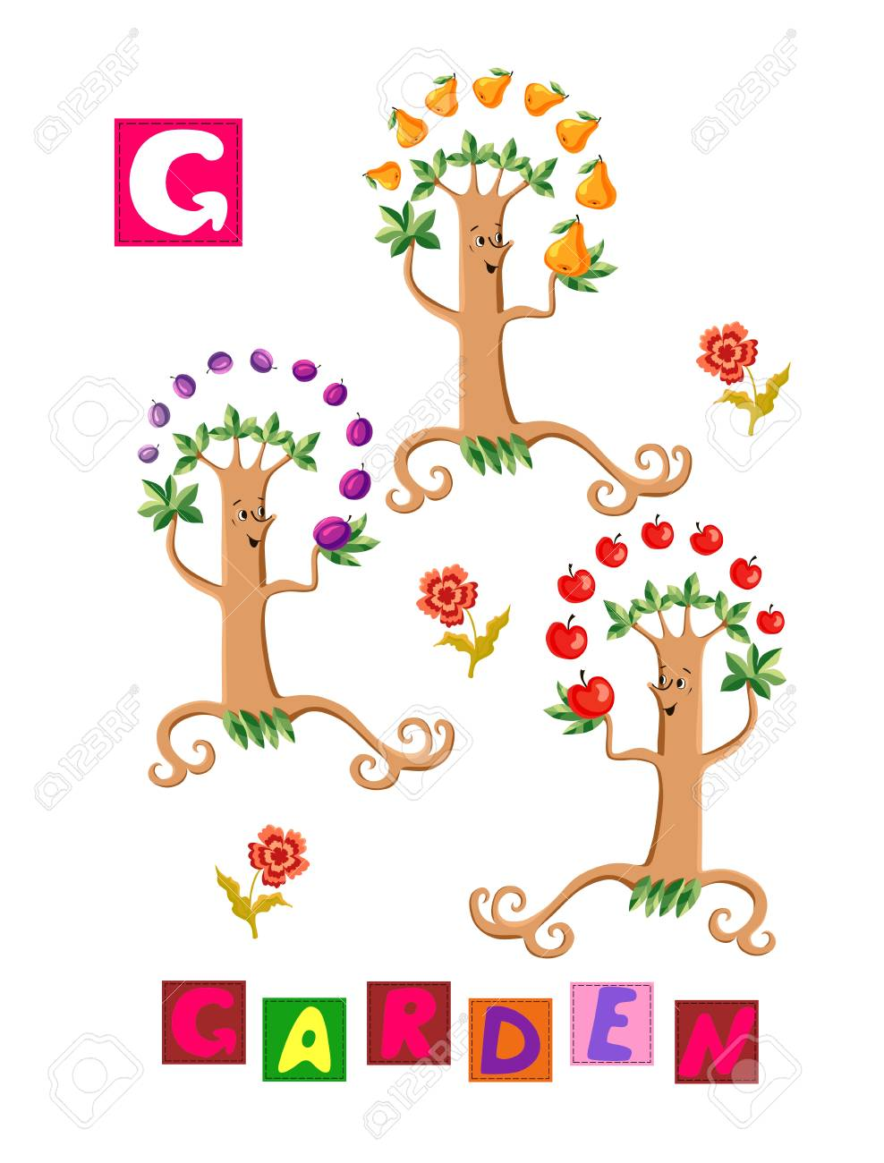 Cute Cartoon English Alphabet With Colorful Image And Word Kids Royalty Free Cliparts Vectors And Stock Illustration Image 58632452
