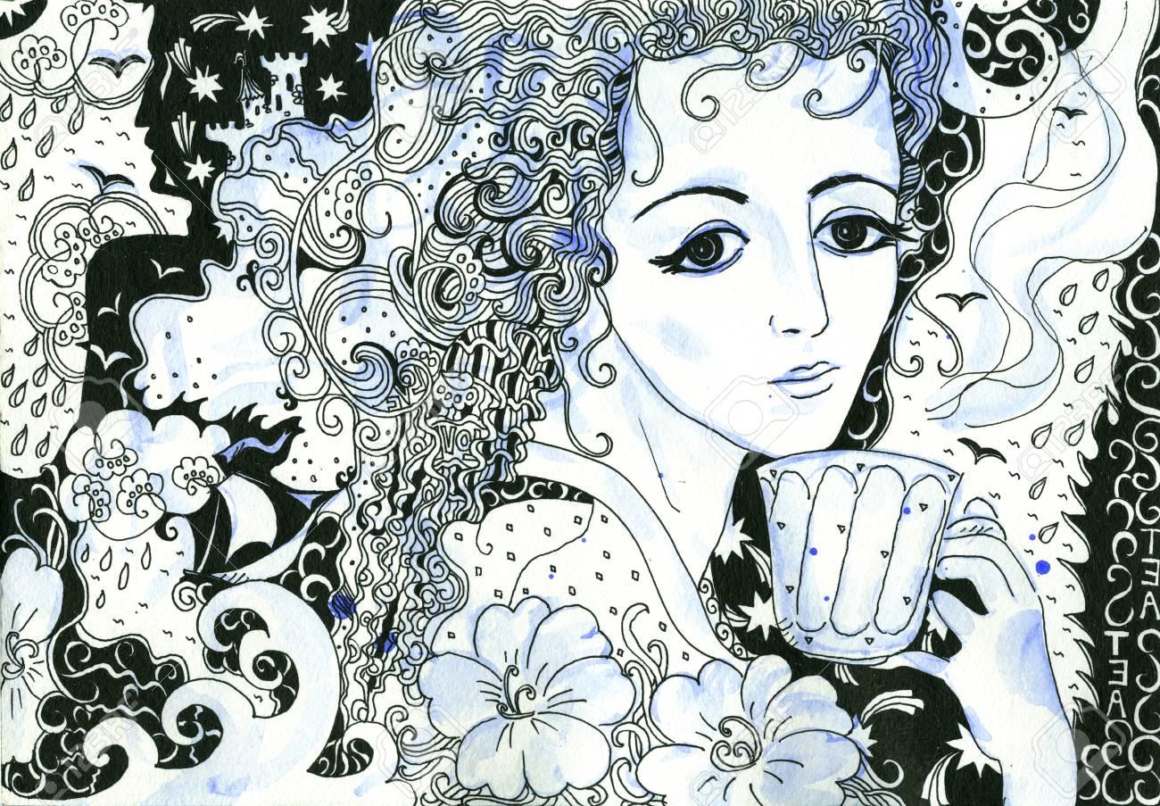 Thé Avec Des Souvenirs Dessin Dessiné à La Main Et Illustration Aquarelle De Belle Fille Noir Blanc Et Bleu