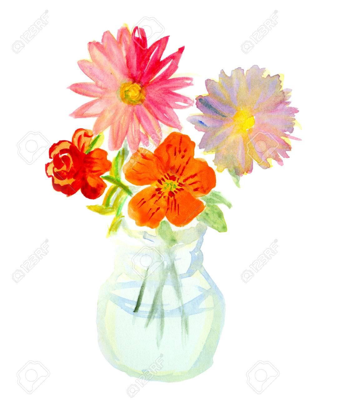 bouquet von bunten blumen in glas-vase. aquarell, Best garten ideen