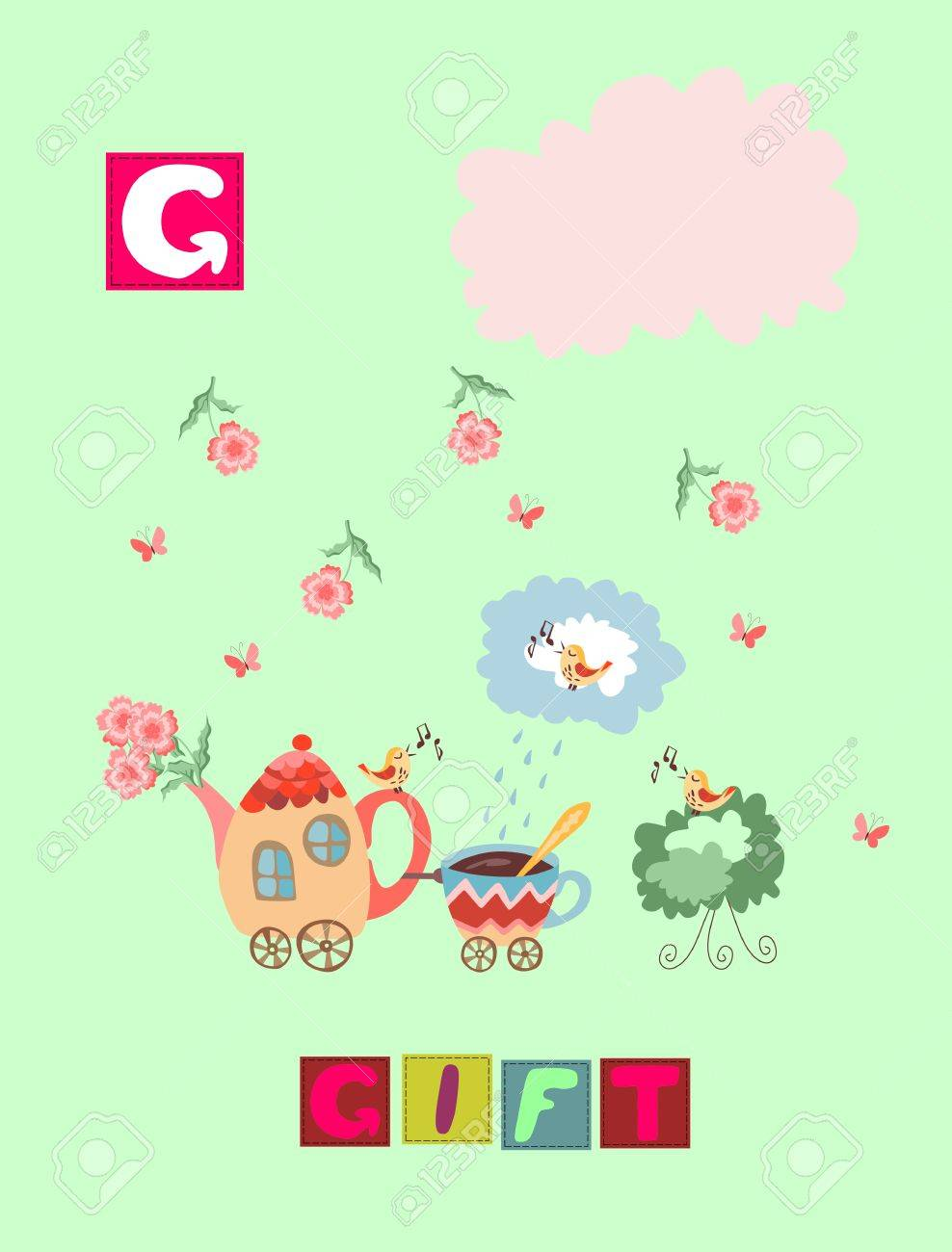 Storia Del T Cartone Animato Inglese Alfabeto Immagine Colorata E