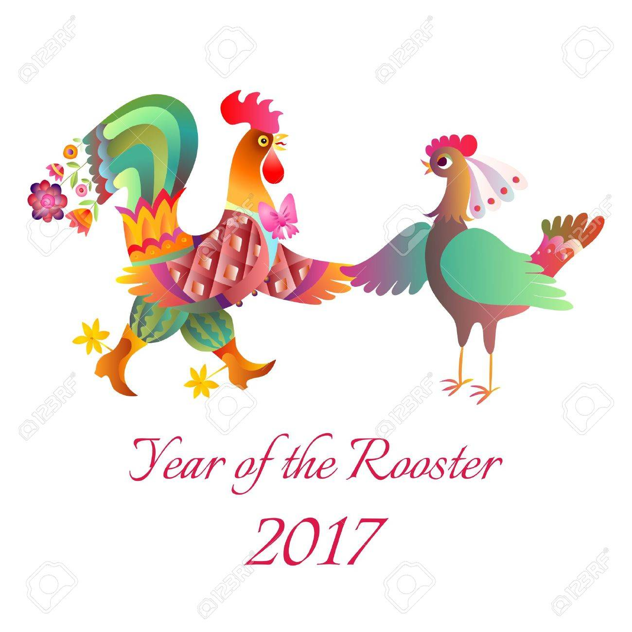 Year of the Rooster. Cute cartoon card with cock and hen. 2017. Chinese zodiac. Vector illustration. - 60474998