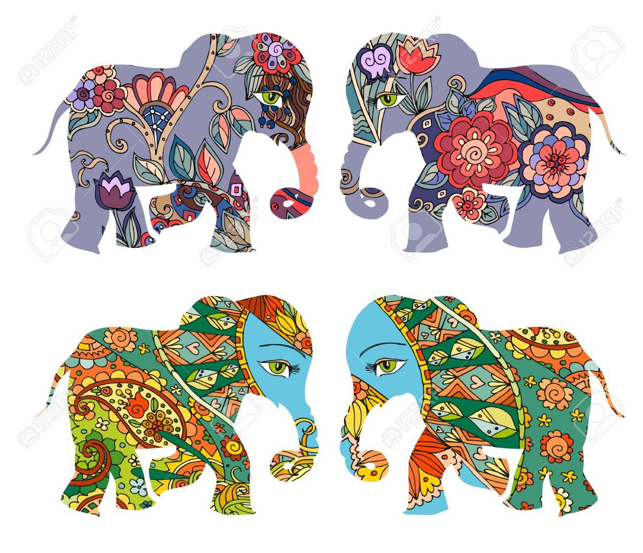 Indien . Schöne Elefanten Mit Blumen Auf Weißem Hintergrund . Vektor ...