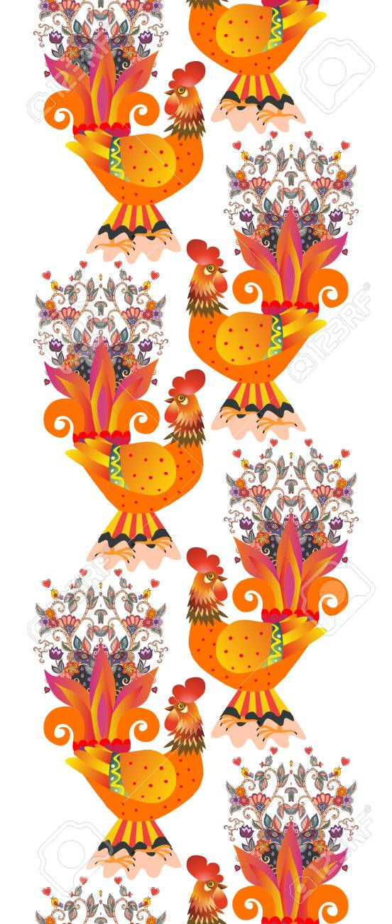Vertical Endless Animal Border With Gold Roosters Chinese Symbol