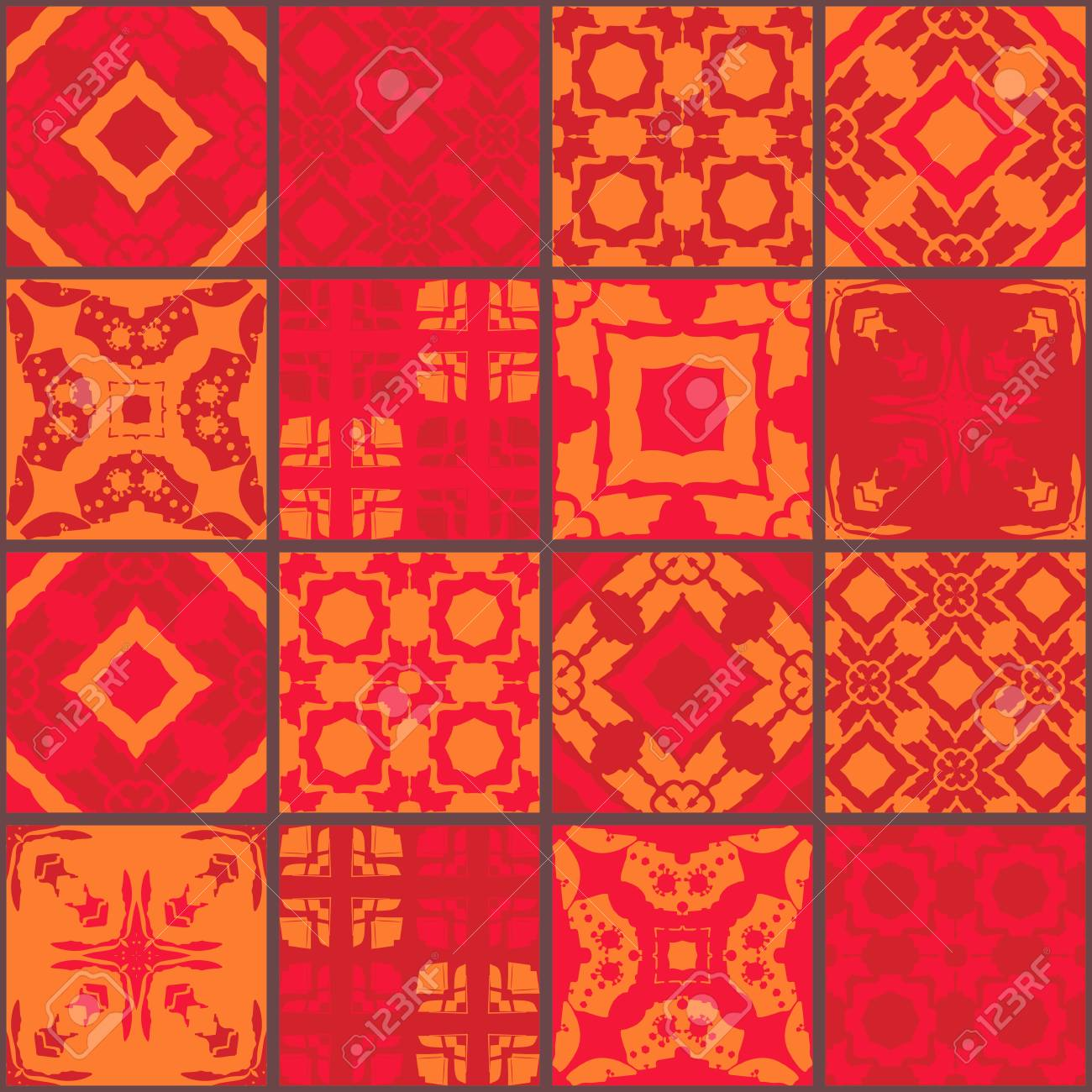 Red Moroccan Ceramic Tiles Cute Patchwork Pattern Vector Illustration Royalty Free Cliparts Vectors And Stock Illustration Image 64582754