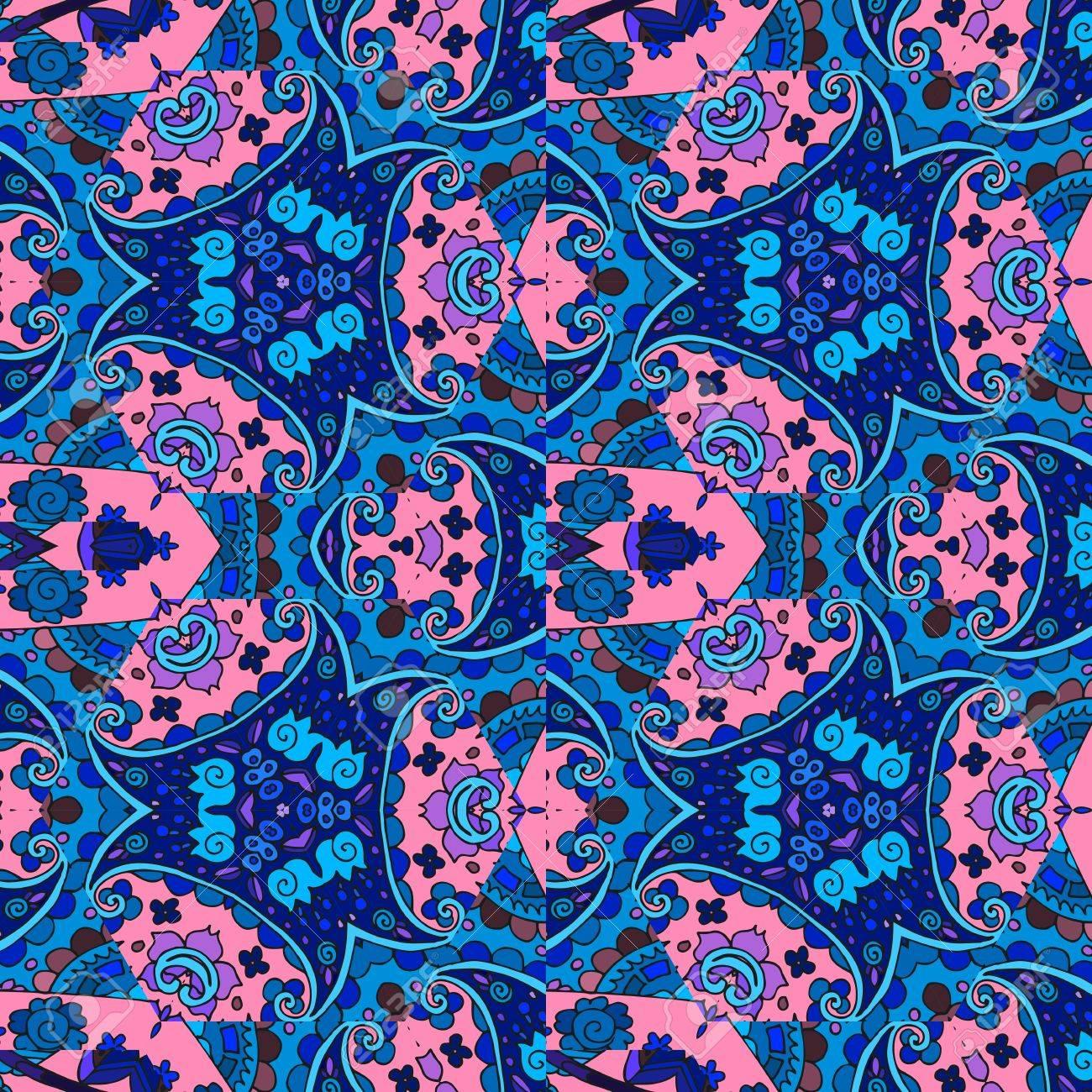 ethnische detaillierten floralen und paisley nahtlose muster vektor illustration drucken fr stoff - Bettwasche Paisley Muster