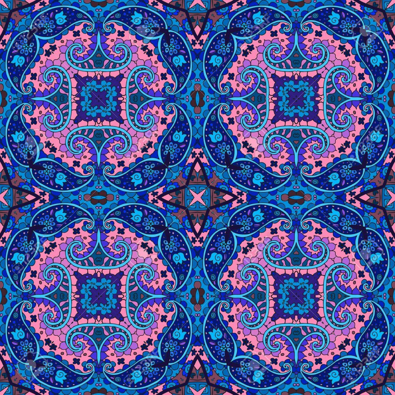 detaillierte floralen und paisley nahtlose muster in rosa und blauen tnen vektor hintergrund - Bettwasche Paisley Muster