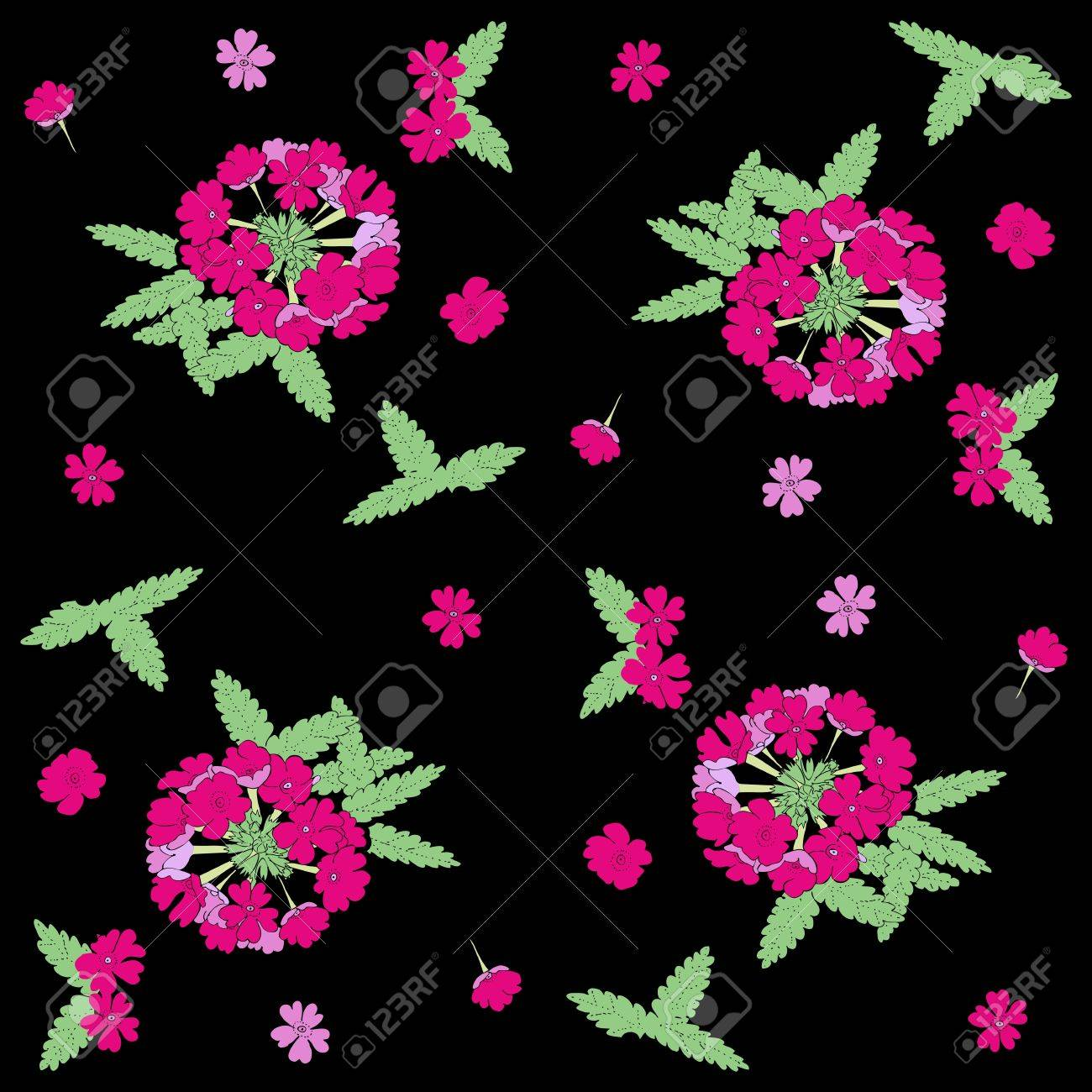 Endless Floral Wallpaper Pattern With Verbena On Black Background
