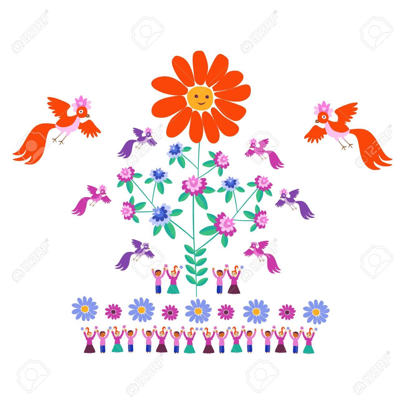 Plantilla Festiva Para El Bordado. Flor - Sun, árbol Floreciente ...