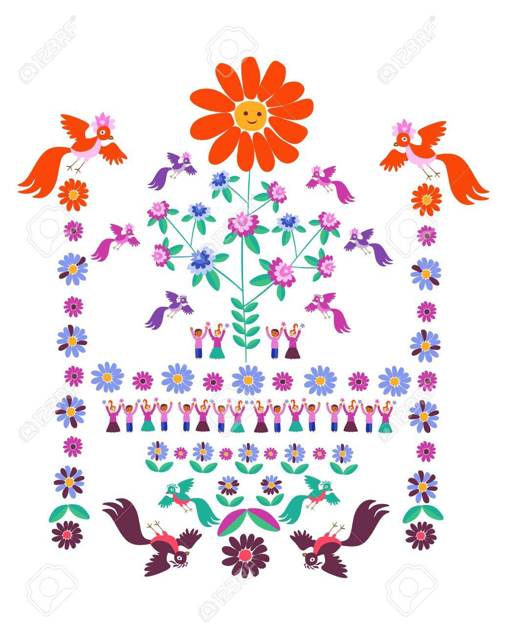 Festive template for embroidery flower sun blooming tree festive template for embroidery flower sun blooming tree birds and cute cartoon izmirmasajfo