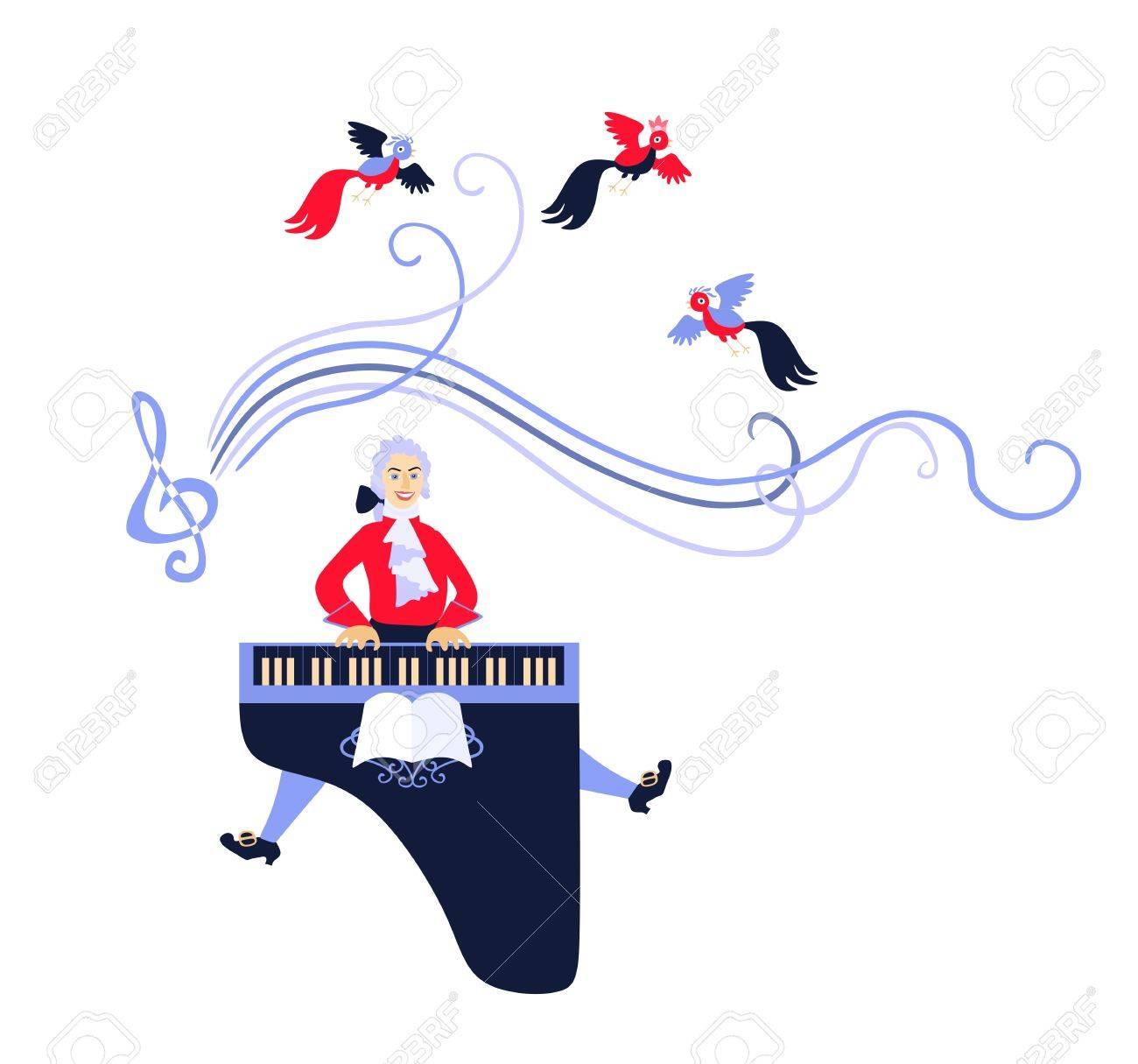 モーツァルトはチェンバロで彼の音楽を実行しましたかわいい漫画の
