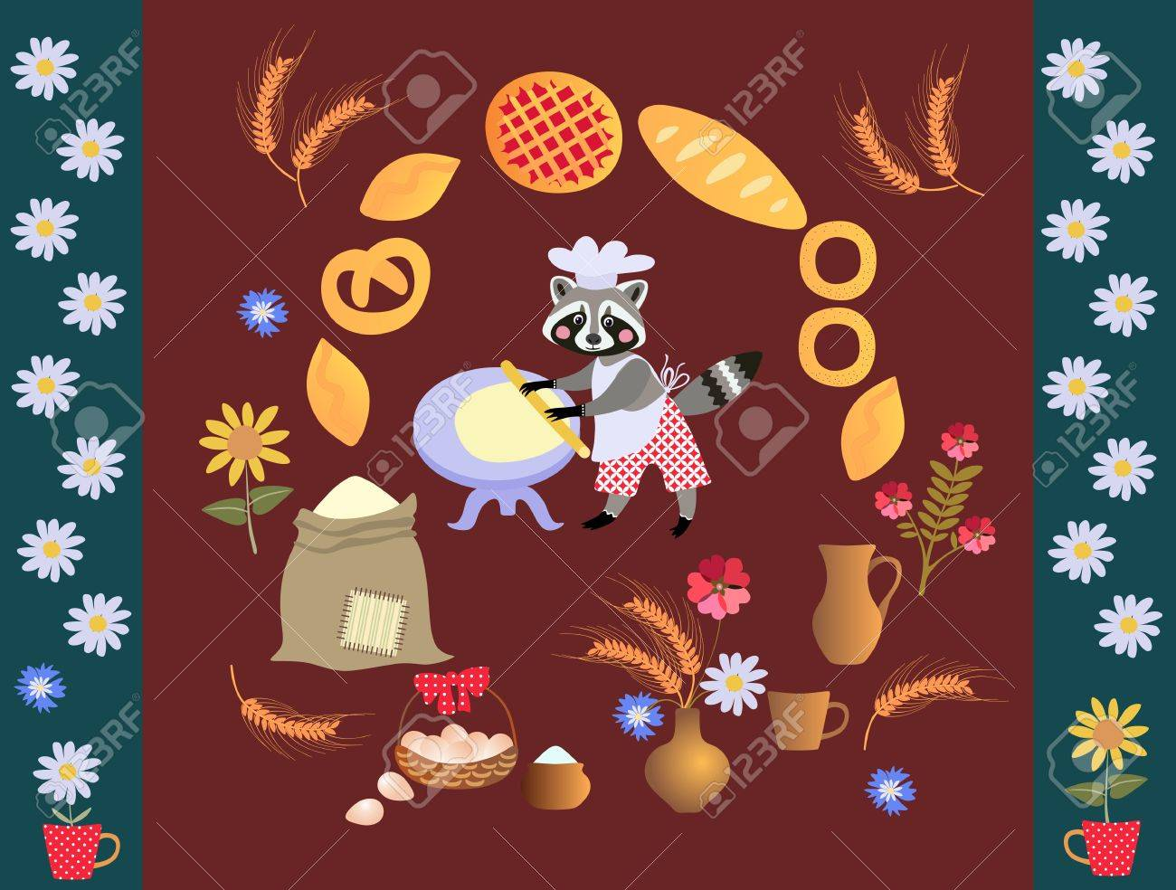Cute Cartoon Raccoon Baker With Dough And Rolling Pin. Card ...