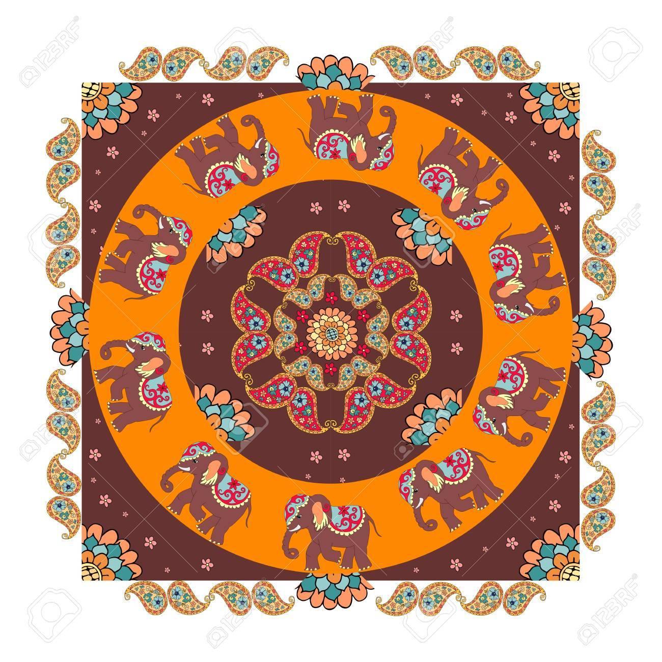 Ethnic Bandana Print With Beautiful Flowers Paisley And Elephants Summer Kerchief Square