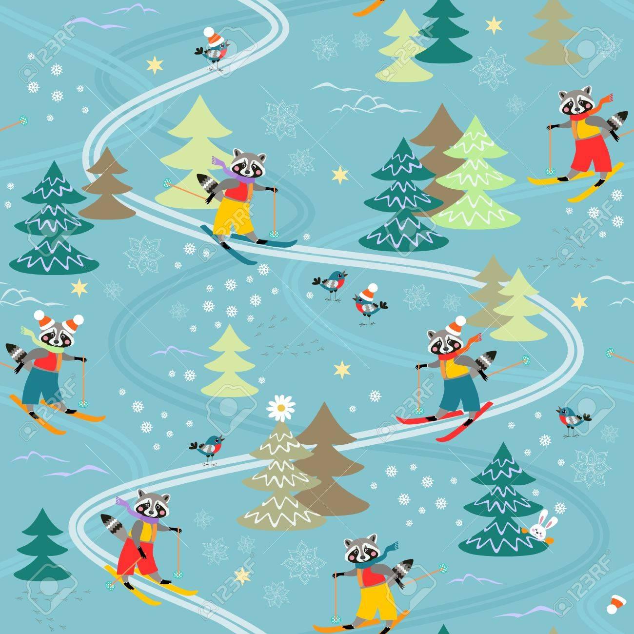 Nette Lustige Waschbären Im Skifahren Winter Nahtlose Muster