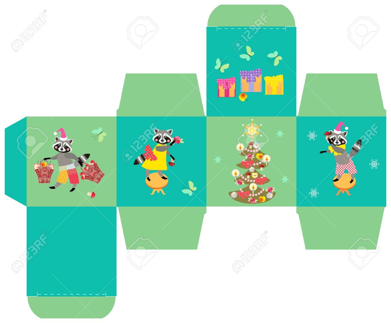 Christmas Gift Box Template.Merry Christmas Gift Box Template With Cute Funny Raccoons