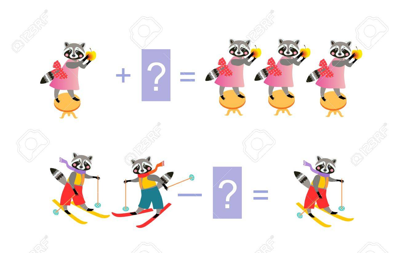 Magic Math With Cute Raccoons. Educational Game For Children ...