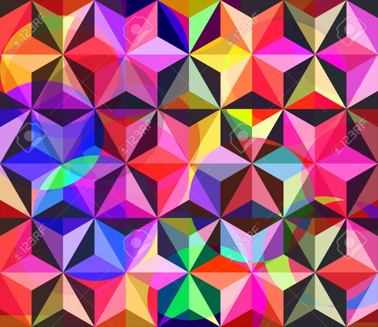 Bunte Mosaik Mit Geometrischen Blumen. Nahtlose Hintergrund. Drucken ...