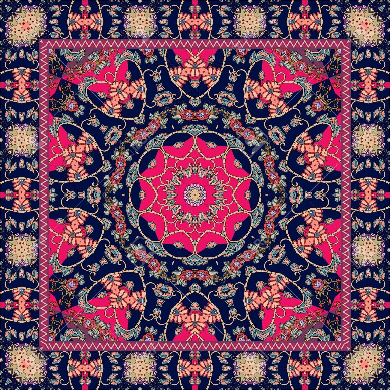Beau Tapis Indien Avec Mandala Lumineux Et Bordure Ornementale