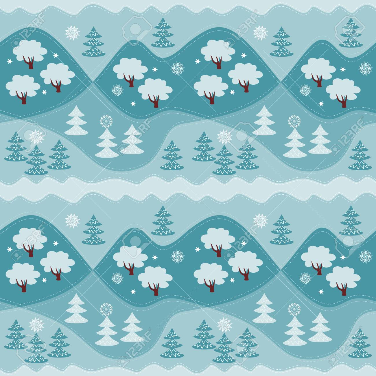 Vector - Winter endless pattern. Print for fabric, paper, wallpaper, wrapping. Vector illustration. Woodland.