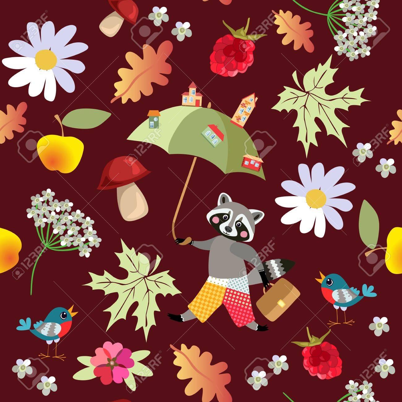 Nahtlose Vektor Muster Mit Niedlichen Cartoon Waschbar Blumen