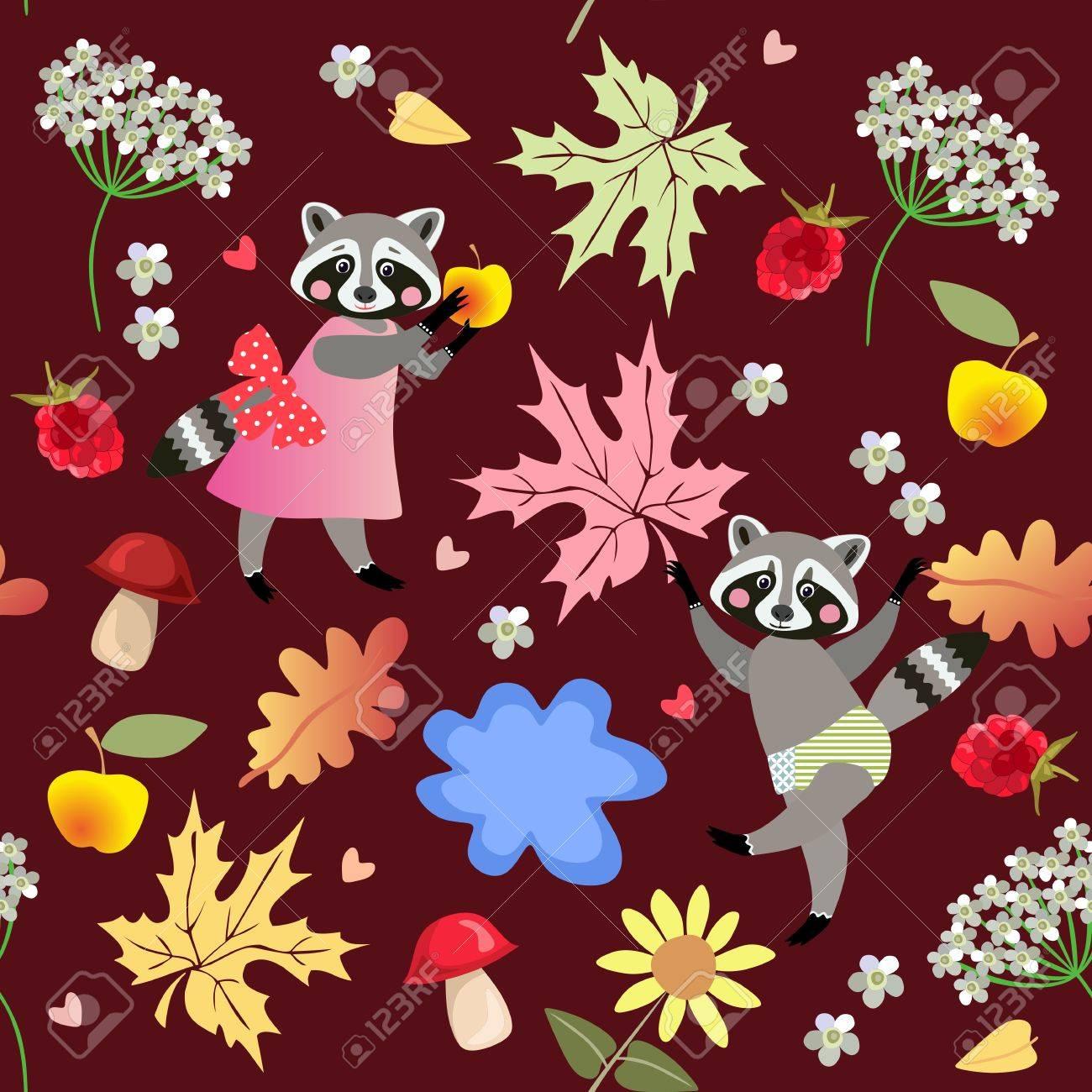 24215c4cd83f49 Nahtlose Vektor-Muster Mit Niedlichen Cartoon-Waschbären