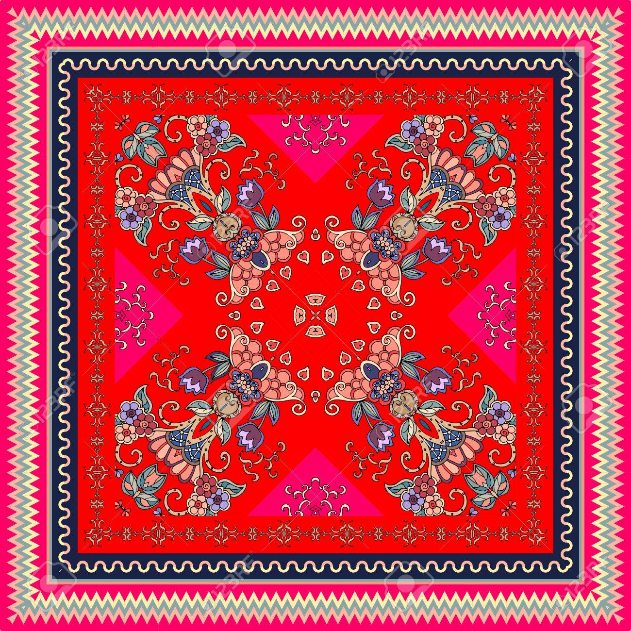 Lovely tablecloth in oriental style with ornamental border. Bright indian scarf with unusual floral pattern. Scawl. - 68388795