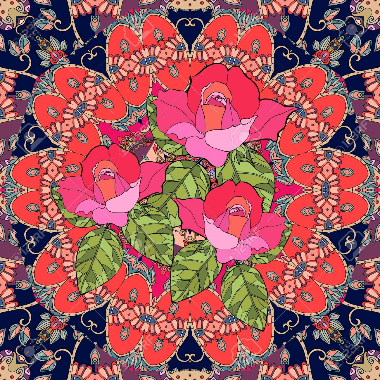 Bouquet Of Roses On Flower - Mandala. Beautiful Seamless Pattern ...