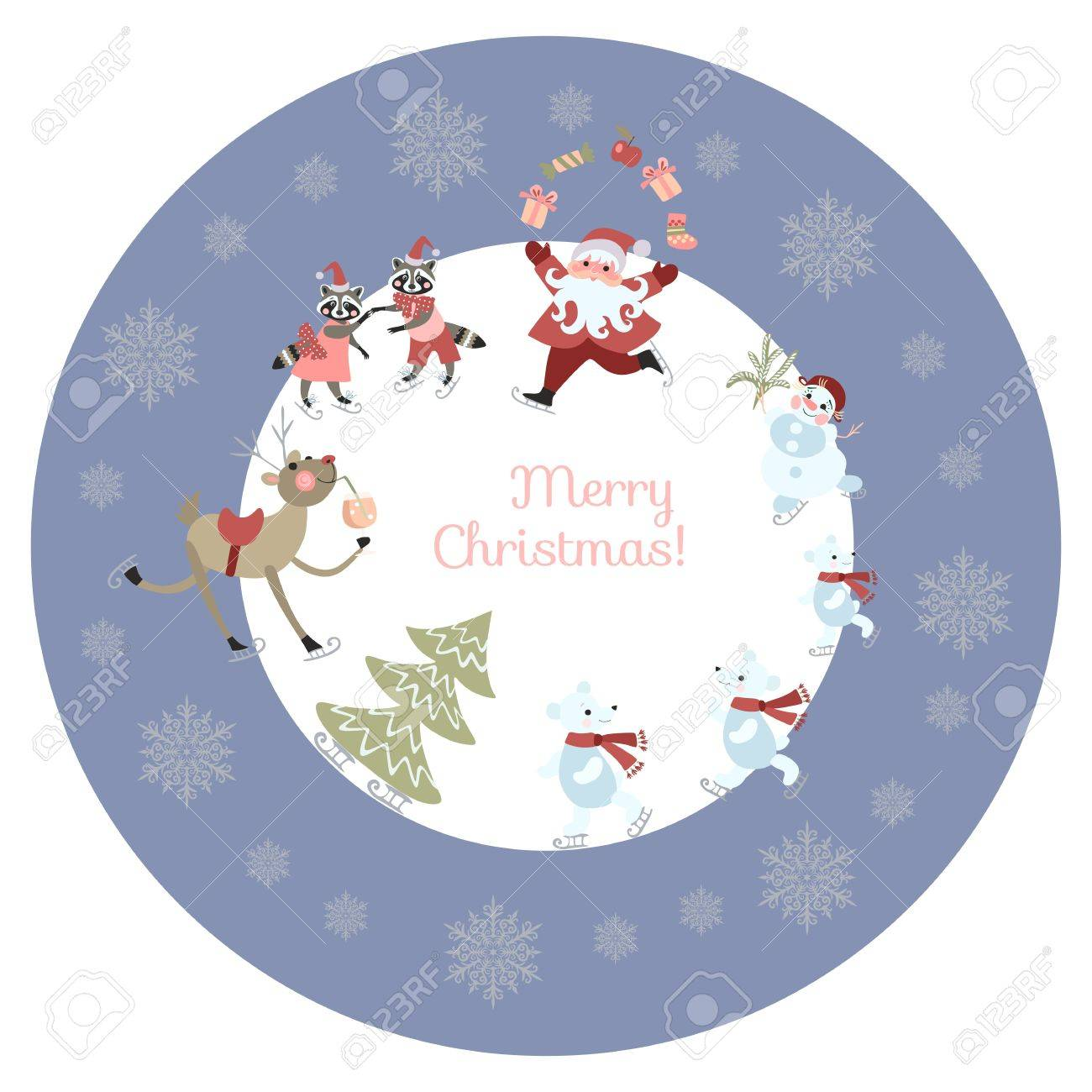 round greeting card or decorative plate merry christmas cute cartoon santa claus reindeer with