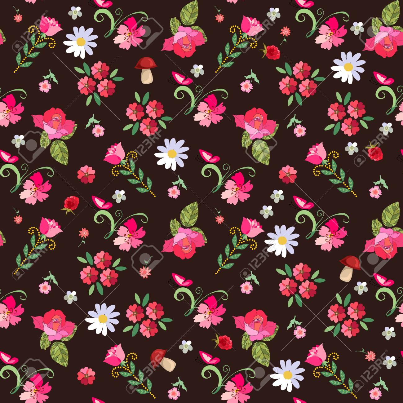 Bonito Sem Costura Padrao Floral Com Rosas Margaridas Framboesas