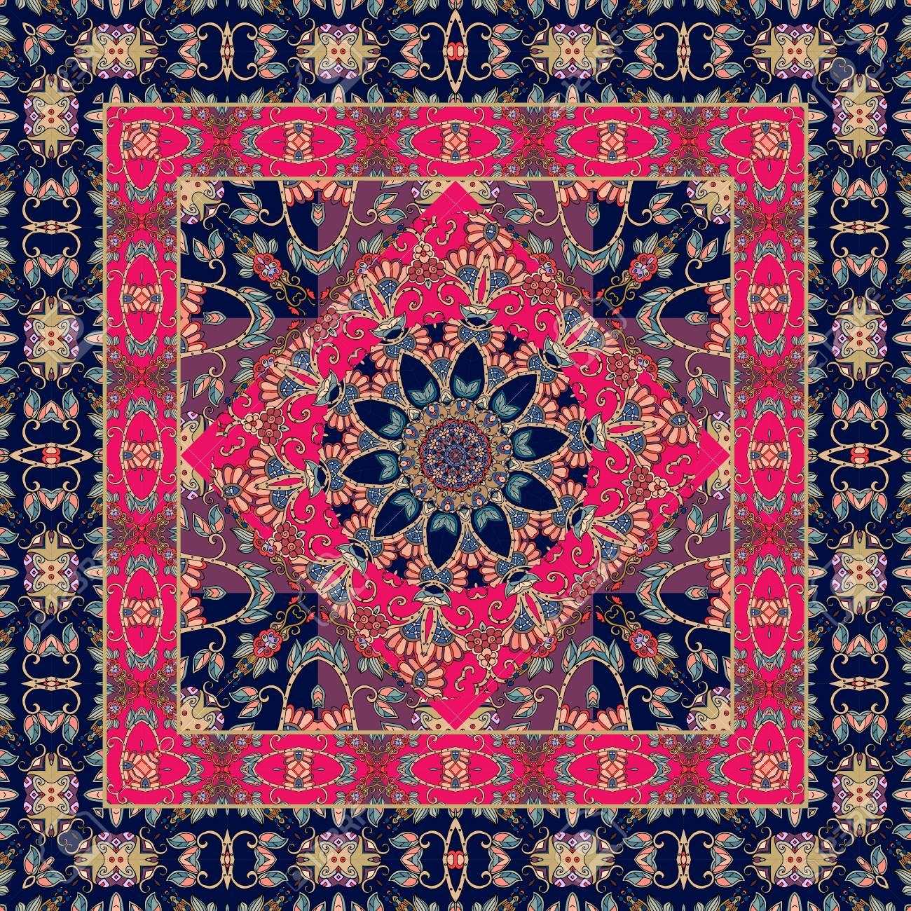 Tapis Indien Carre Avec Fleur Mandala Et Bordure Ornementale