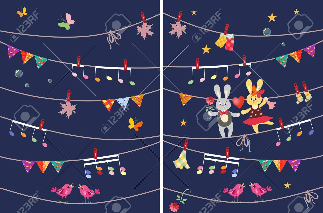 Greeting card with cute dancing bunnies butterflies garland greeting card with cute dancing bunnies butterflies garland musical notes birds kristyandbryce Choice Image