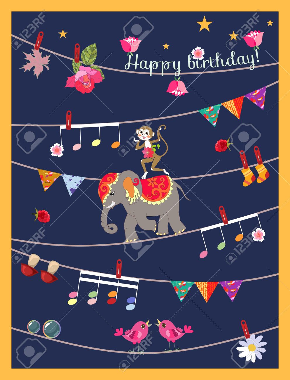 Greeting Card Happy Birthday With Cute Cartoon Monkey Elephant Garland Musical Notes