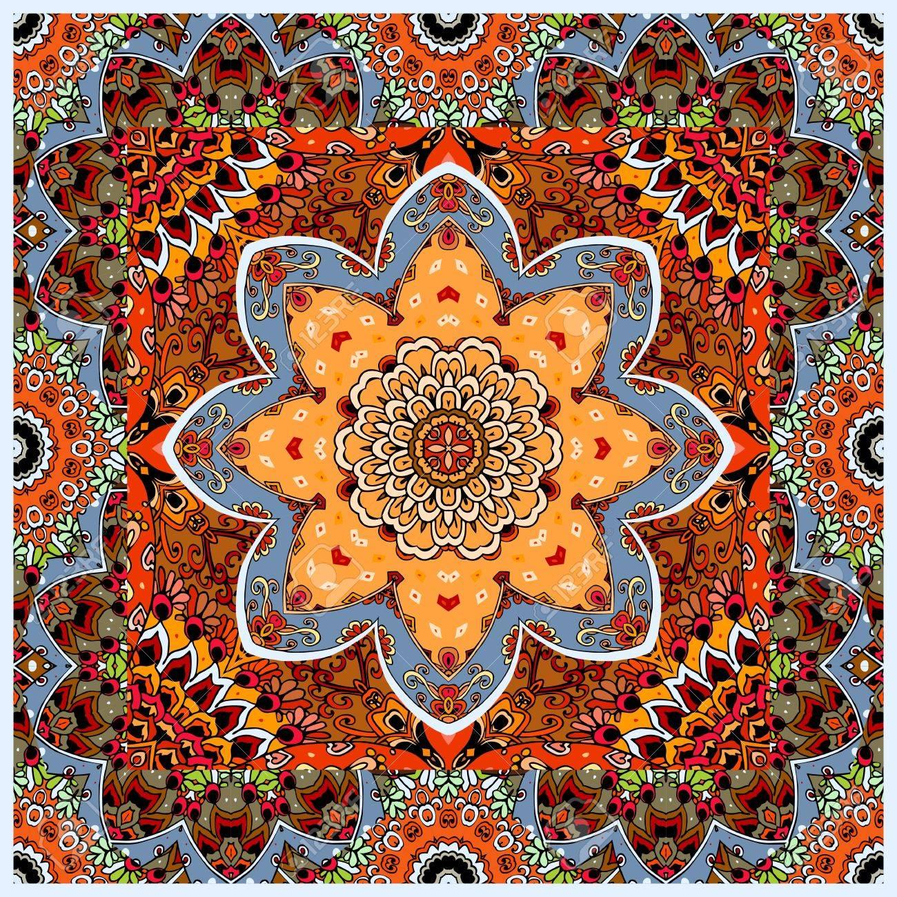 Mantel Precioso O Alfombra Cuadrada Con Roseta Y Marco Ornamental