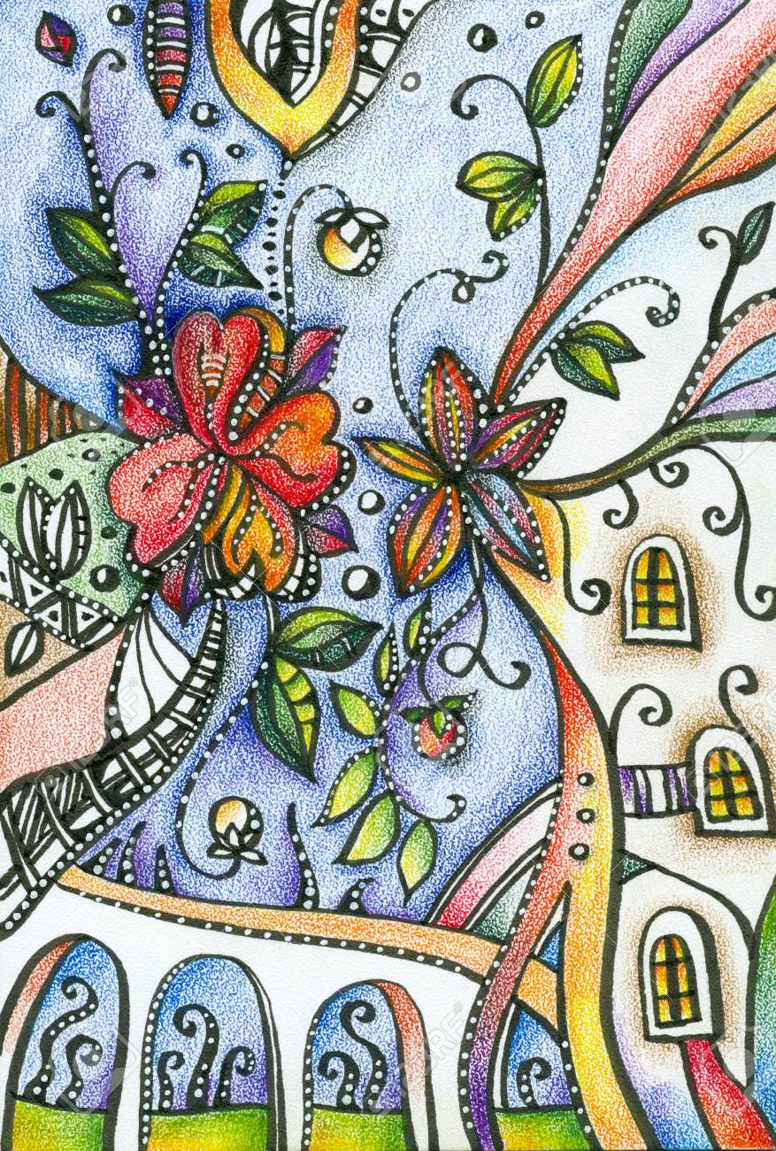 Fantasy Pencil Drawing Of Flowers In Town Stock Photo Picture