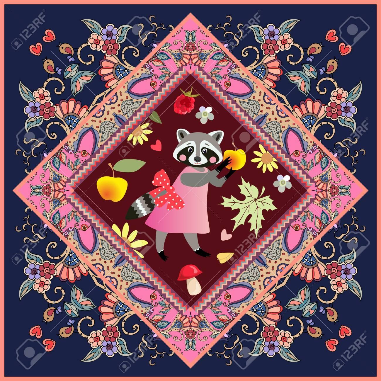 Carreau De Céramique Avec Animal De Dessin Animé Mignon Sur Beau Cadre Ornemental Pour Les Enfants Raccoon Fille Sur Une Robe Rose Avec Un Arc Et