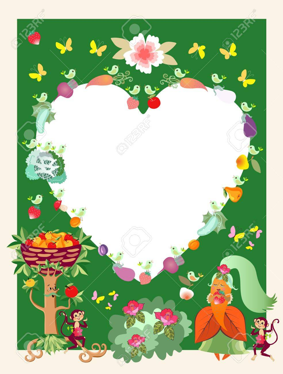 Greeting Card Unusual Frame Or Unique Wedding Invitation With Cute Cartoon Characters Apple Tree: Unique Wedding Greeting Cards At Reisefeber.org