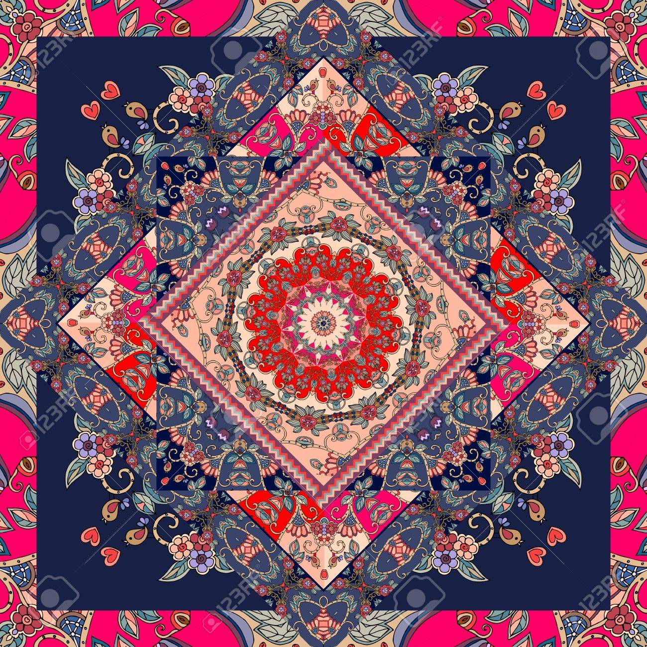 Lovely Tablecloth With Flower Mandala And Bright Ornament Carpet Pillowcase Scarf Patchwork Pattern In Russian Style