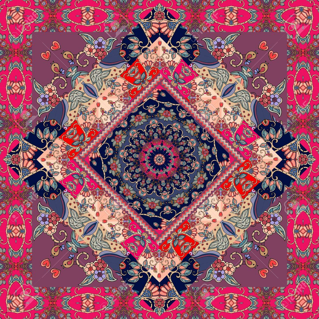 Cute carpet. Packaging design. Tablecloth. Pillowcase. Blanket. Russian patchwork style. - 72586014