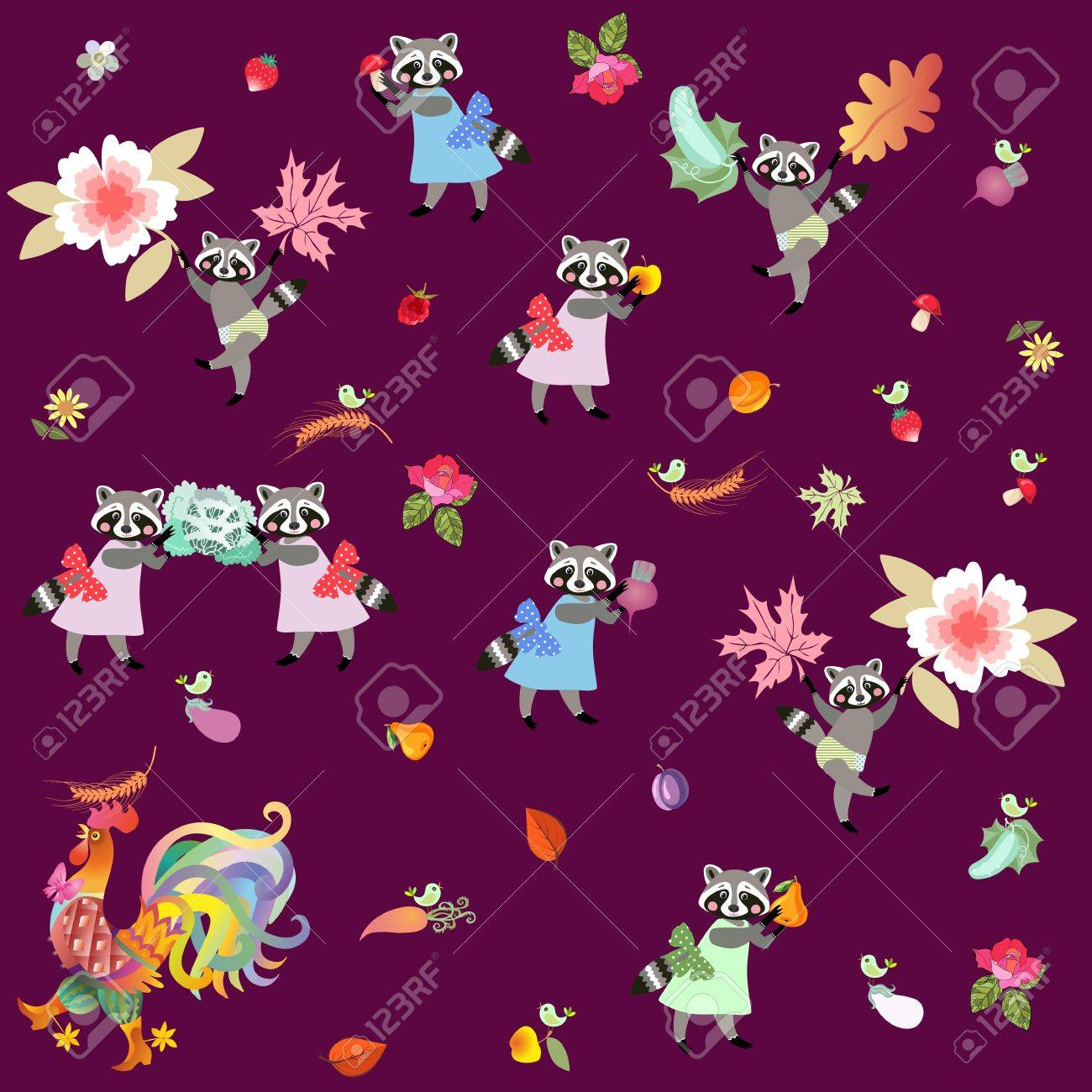 Fairy Tale Endless Pattern With Cute Cartoon Characters Raccoons Cockerel And Little