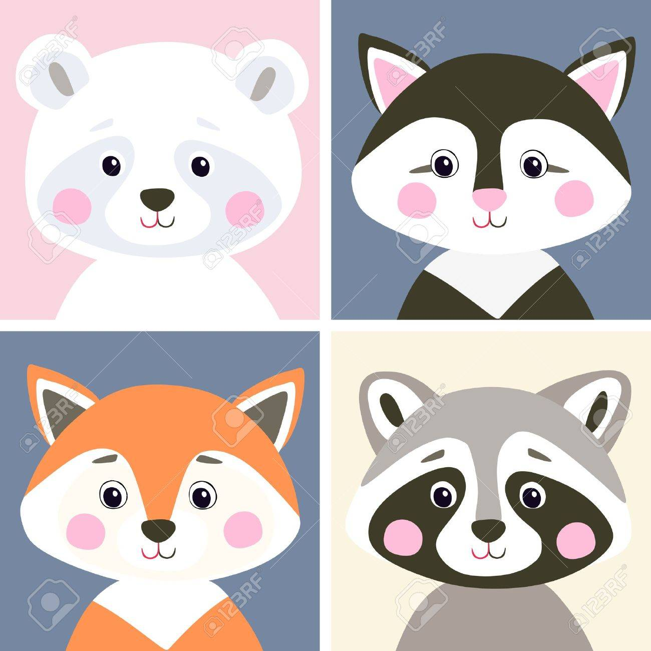 Vector set of cute woodland and pet animals. Funny polar bear, kitten, fox and raccoon in flat style. Illustration for children. - 73956329