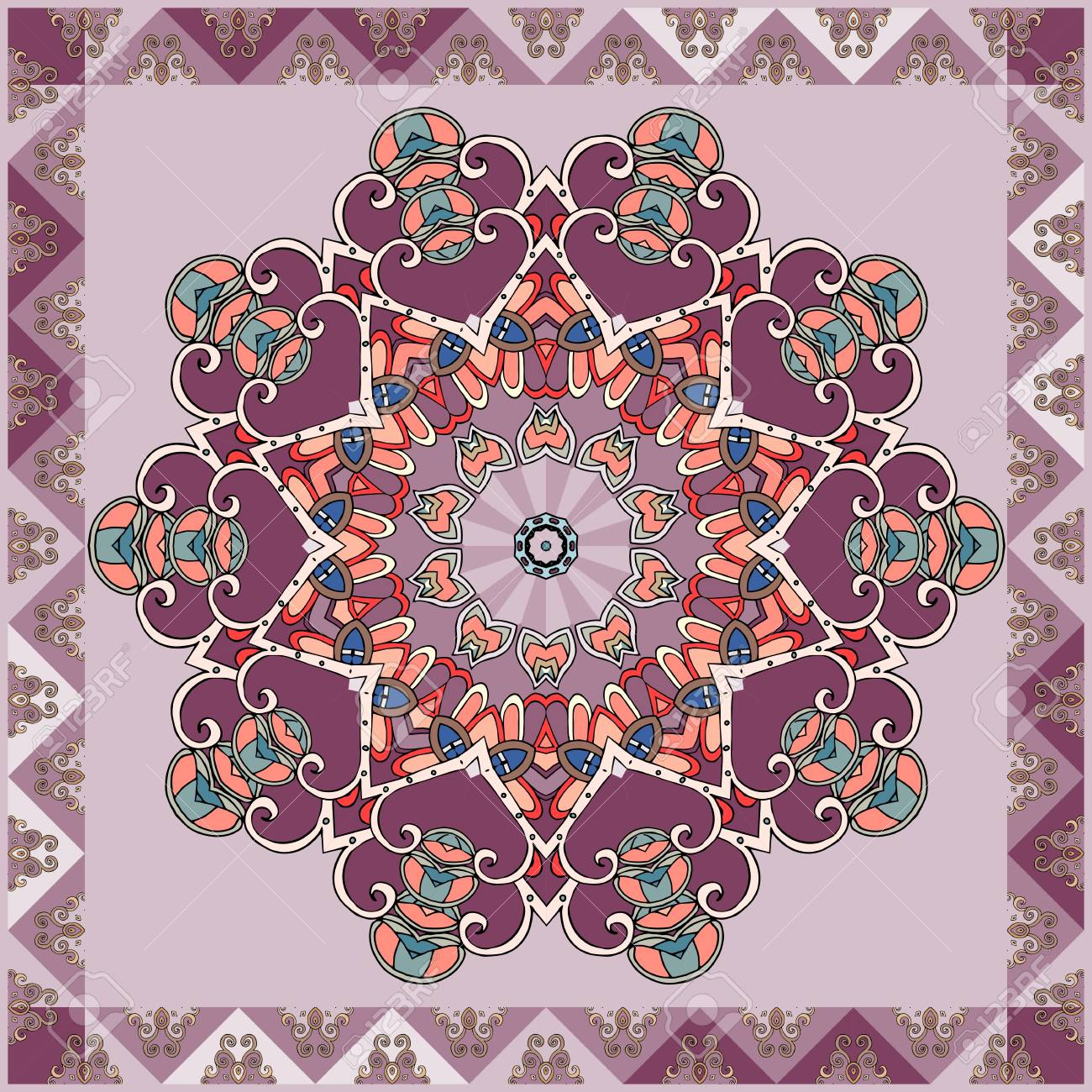Hermosa Servilleta O Alfombra Cuadrada Con Mandala De Flores De
