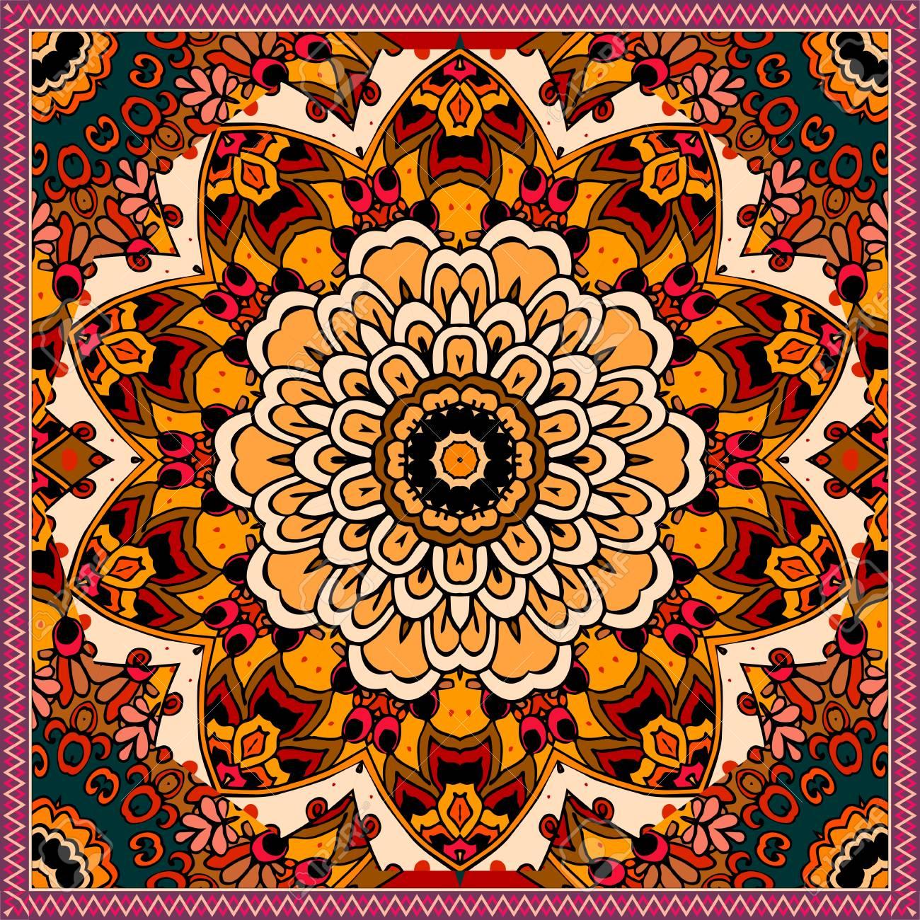 Alfombra étnica Cuadrada Con Mandala De Flores En Tonos Cálidos
