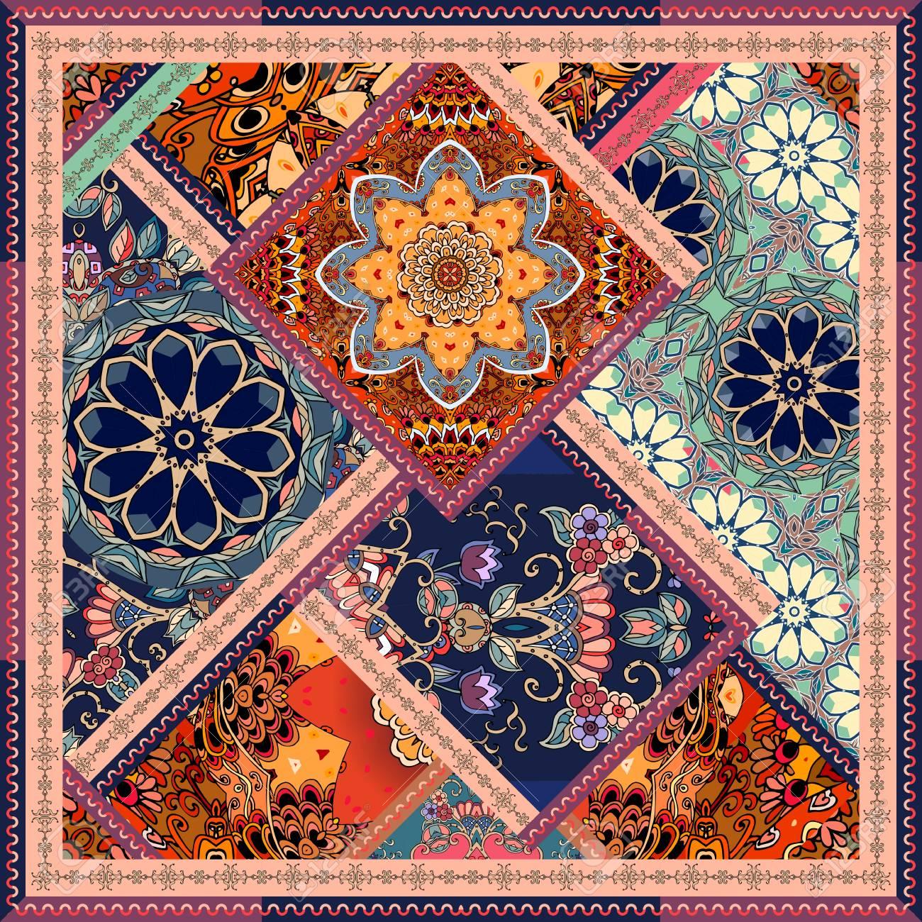 Modèle De Patchwork Avec Des Fleurs Des Mandalas Et Un Cadre