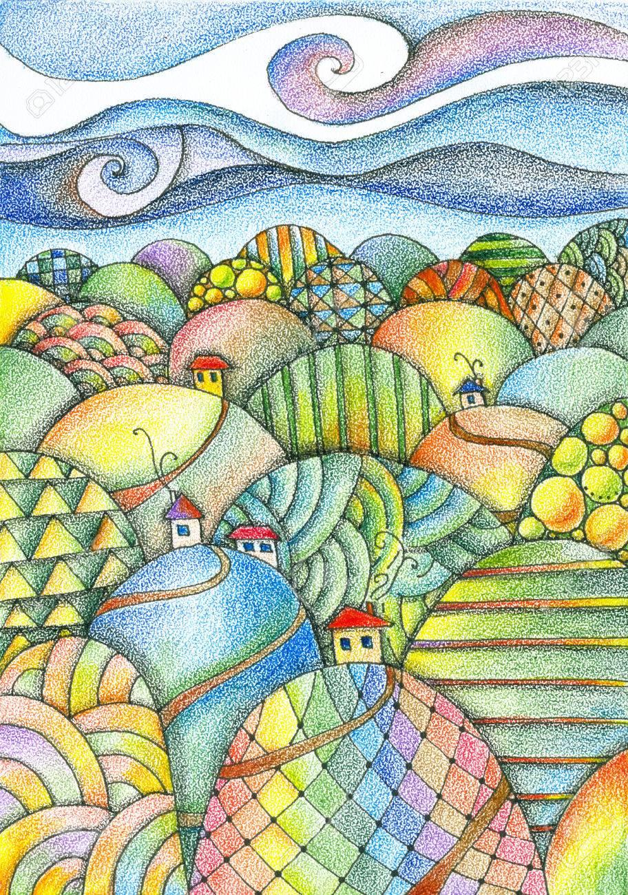 Dia De Verao Paisagem De Fadas Colinas Coloridas Com Casas E