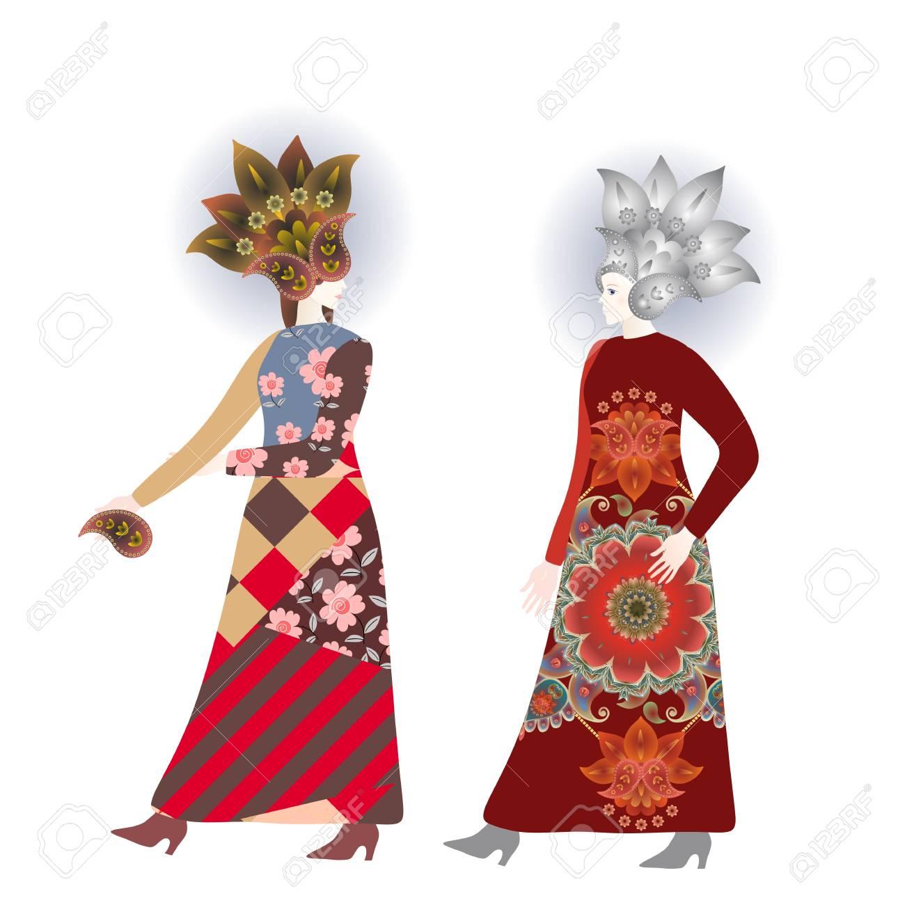 Banner De Moda Con Mujeres Bonitas En Vestidos Vintage Y Sombreros ...