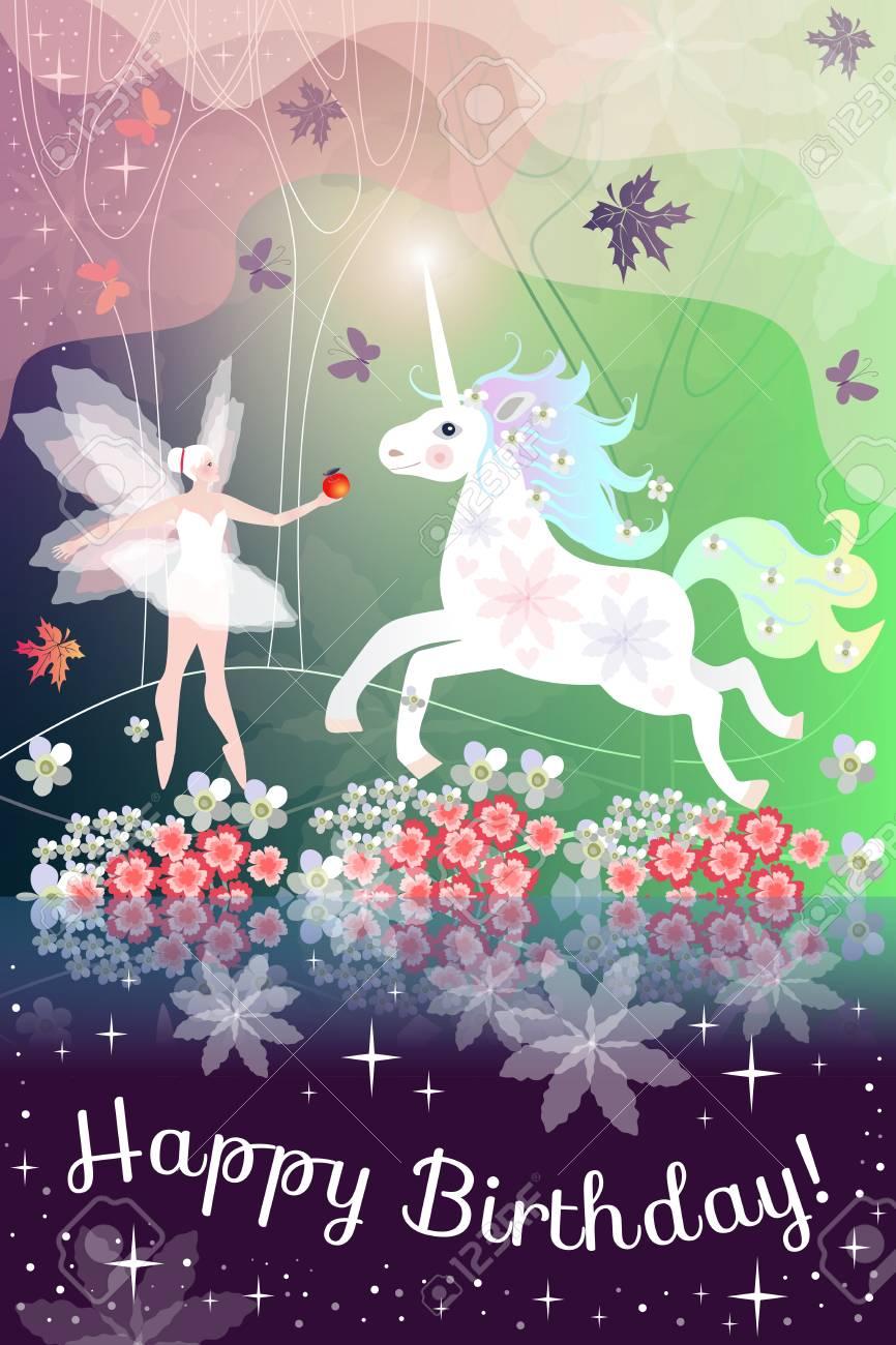 Alles Gute Zum Geburtstag Schöne Grußkarte Mit Feenhaften Mädchen